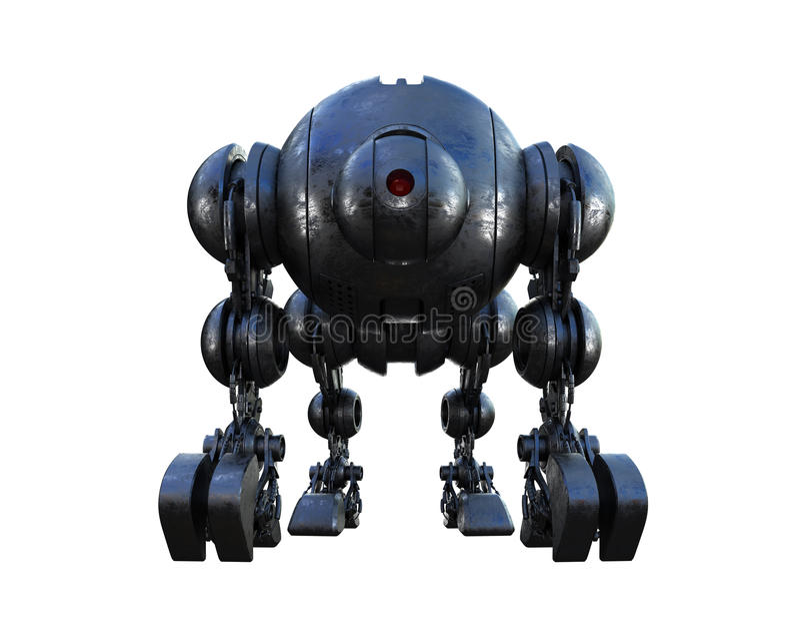 Massive futuristic tank. Massive futuristic robotic steel shell vector illustration