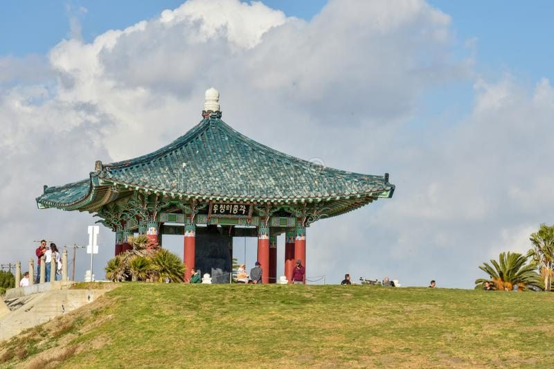 December 27, 2018 San Pedro, Ca. Korean Bell of Friendship and Bell Pavilion stock image