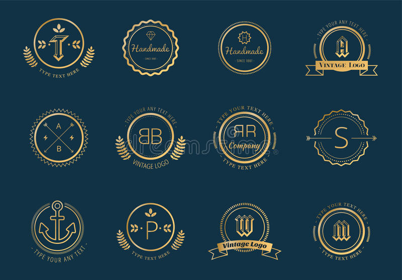 Massive logo badges template bundle. Logo set. Old style and modern flat icons. Vintage retro style. Arrows, labels, ribbons, decor, shield logo, knight logo vector illustration