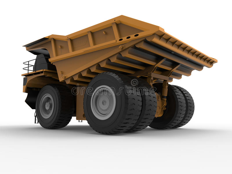 Massive mining truck. 3D render illustration of a massive mining truck. The object is isolated on a white background with shadows royalty free illustration