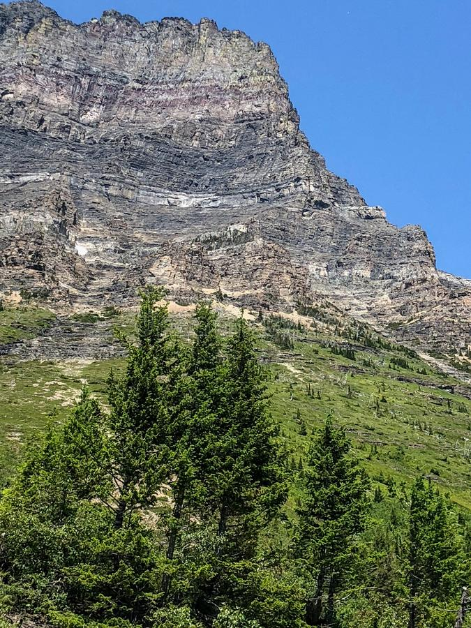 Massive mountain range at Glacier National Park in Montana. This massive mountain range located at Glacier National Park in Montana is made of many different royalty free stock photography