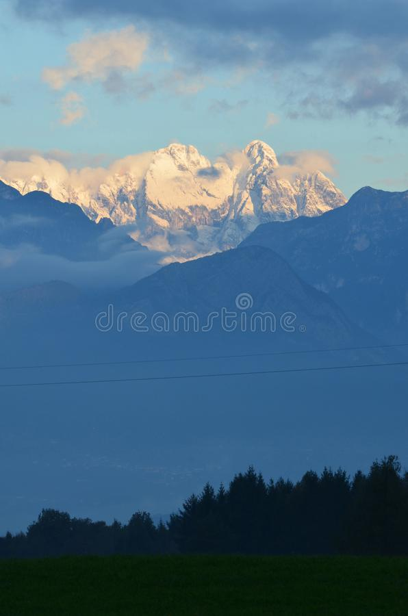 Beautiful scenic view of snow capped mountians royalty free stock images