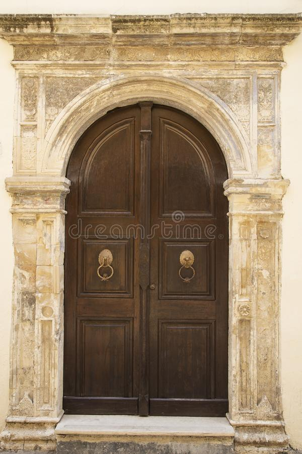 Massive oak door stock photography