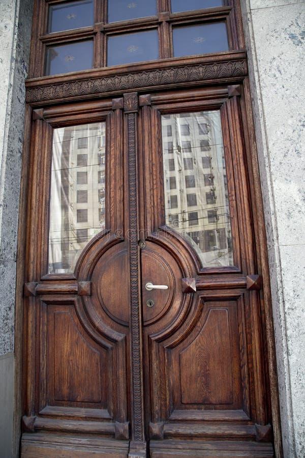 Massive oak doors stock photo
