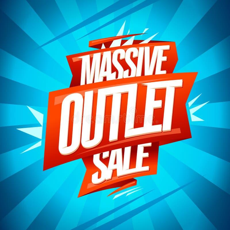 Massive outlet sale banner. Vector discounts poster vector illustration