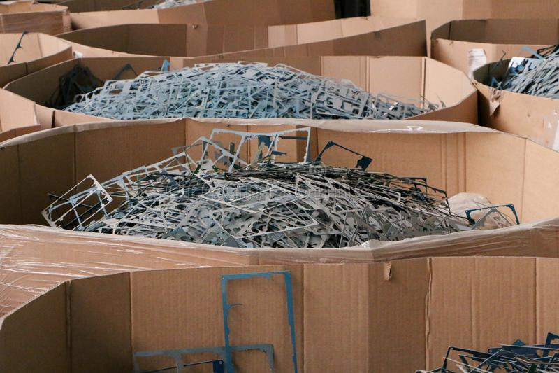 Massive pile of scrap metal or plastic stock photography