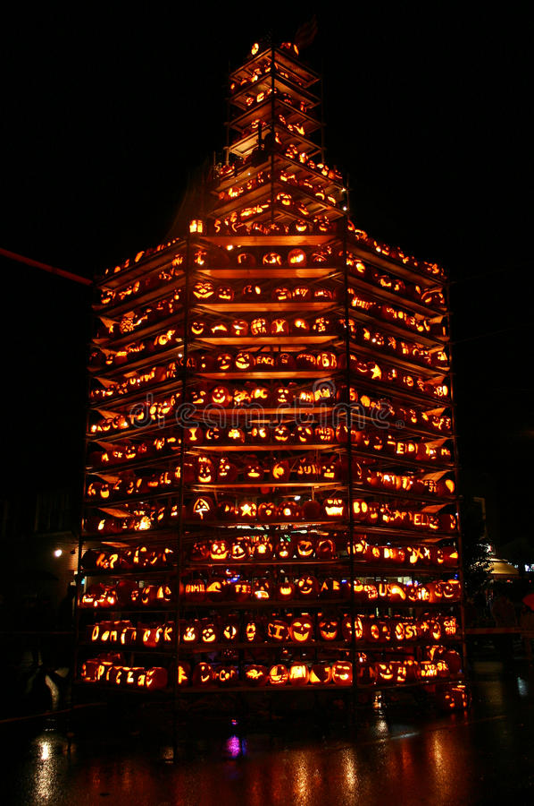 Massive Pumpkin Tower Stock Photo