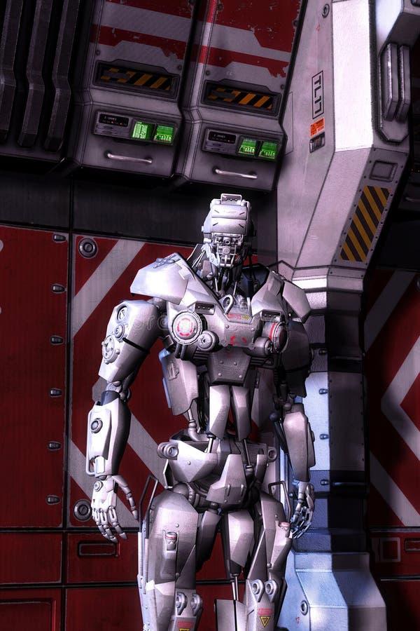 Massive robot. 3D render science fiction illustration stock illustration