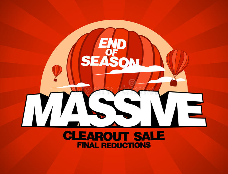 Massive sale design template. With balloons carrying shopping bags vector illustration