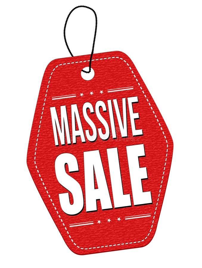 Massive sale leather label or price tag. Massive sale red leather label or price tag on white background stock illustration
