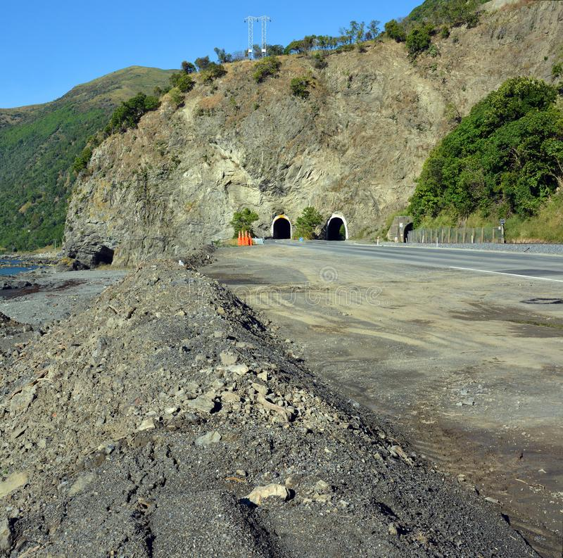 Massive Slip is Cleared from the Raramai Road Tunnels Kaikoura. royalty free stock photography