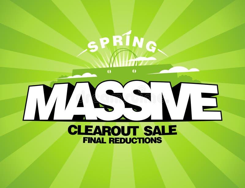 Massive spring sale design template. With shopping bag stock illustration