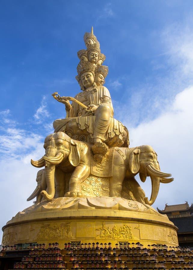 Massive statue of Samantabhadra at the summit of Mount Emei, China royalty free stock photography