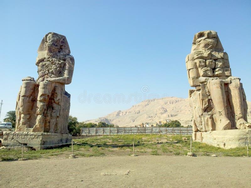 Massive stone statues of Pharaoh Amenhotep III stock photo