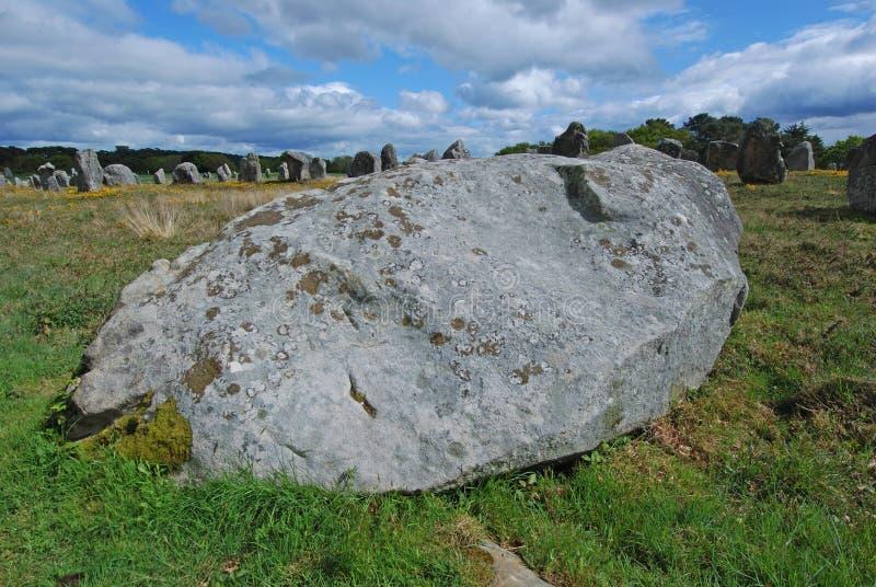 Massive stone wonder. Carnac, France stock photography