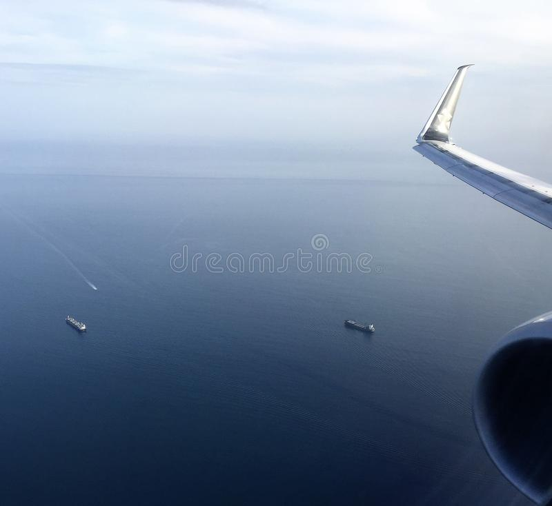 Massive Ship Tankers near Panama Canal from Air royalty free stock image
