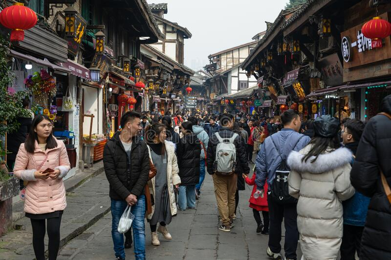 Massive tourists and street view at Ciqikou Porcelain Port royalty free stock image