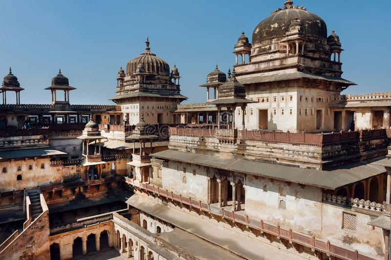 Massive towers of the 17th century Citadel of Jahangir, Orchha in India. Example of Indian and Mughal architecture. Massive towers of the 17th century Citadel of royalty free stock photography