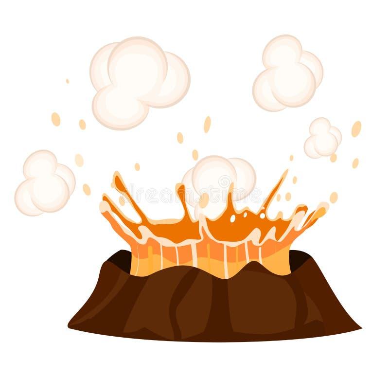 Massive Volcanic Eruption Isolated Illustration. Massive volcanic eruption isolated on white background. Big hot burning lava splash vector illustration. Deep royalty free illustration