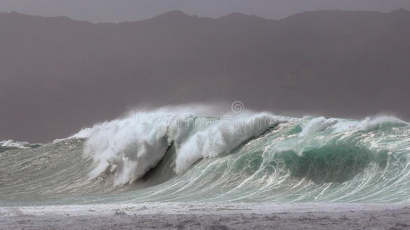Massive Waimea Bay storm surf. Biggest swell in decades slams the north shore of Oahu. 50ft waves on the outside reefs and close out sets at Waimea, Storm winds royalty free stock photos