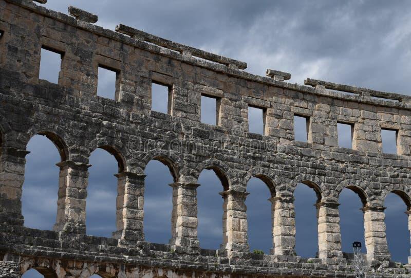 Amphitheater,Pula,Croatia. Pula.Croatia.The massive walls of the amphitheater. place of gladiatorial combat stock photography