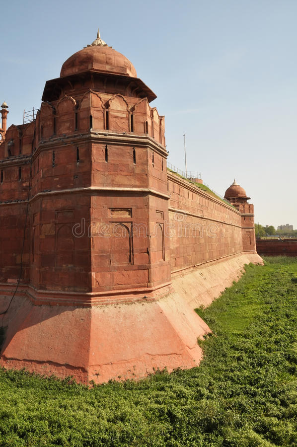 The Massive Walls of the Red Fort in Delhi, India stock image