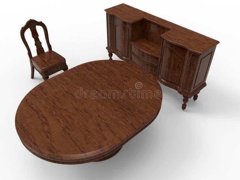Massive wood furniture. 3D render illustration of a massive wooden furniture. The composition is on a white background with shadows vector illustration