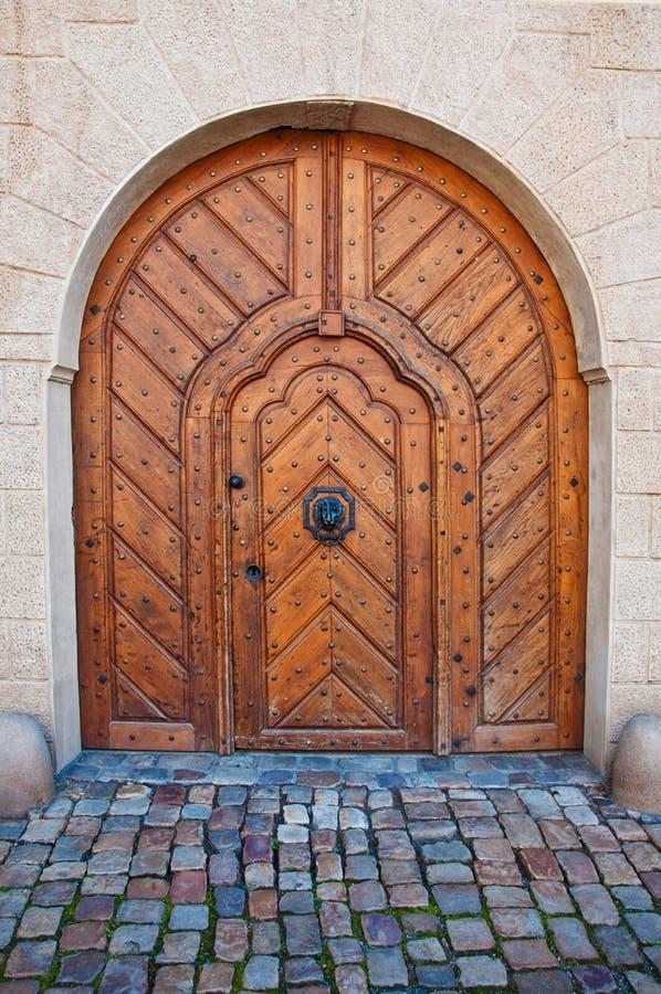 Massive wooden door stock photography