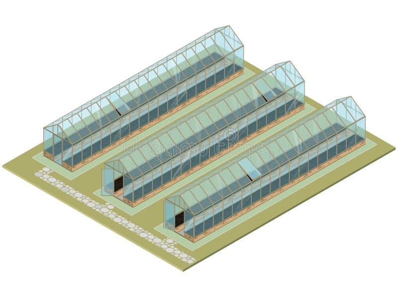 Masslantgård Isometriskt växthus med glasväggar, fundament, gaveltak stock illustrationer