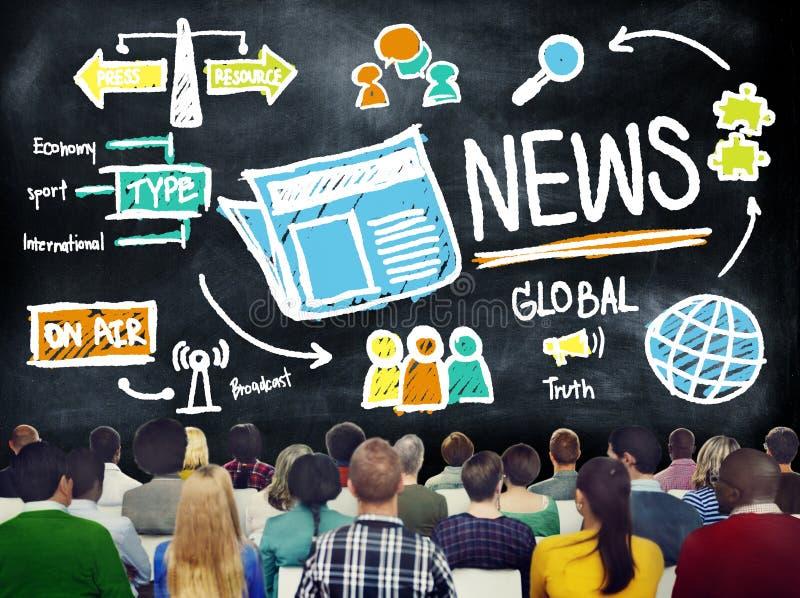 Massmedia Advertismen för uppdatering för publikation för information om nyheternajournalistik royaltyfri fotografi