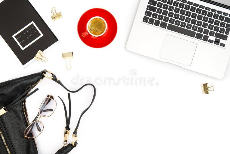 Massmedia för lägenhet för mode för kaffe för bärbar dator för kontorsskrivbord lekmanna- socialt fotografering för bildbyråer