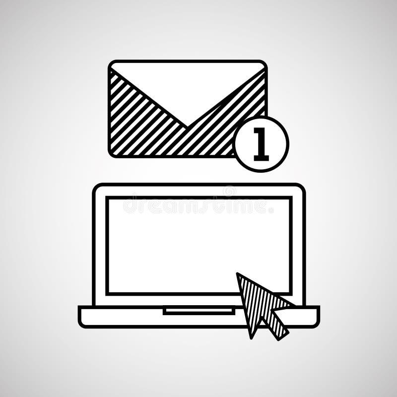 Massmedia för nätverk för email för handattraktionbärbar dator socialt royaltyfri illustrationer