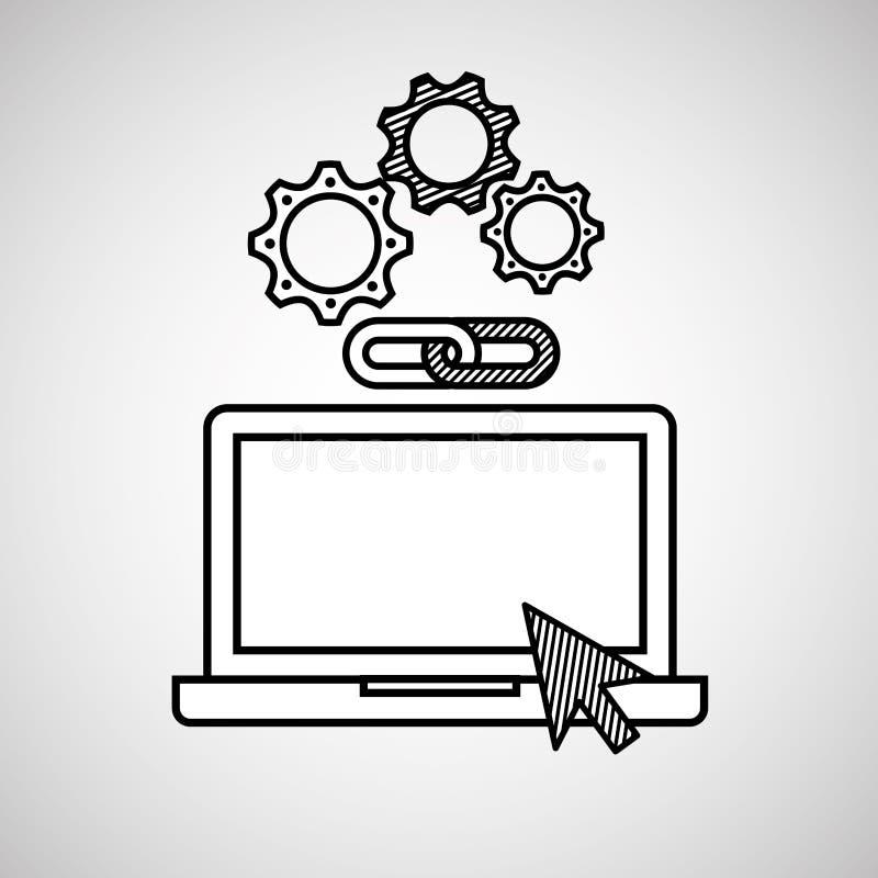 Massmedia för nätverk för rengöringsduk för sammanlänkning för kugghjul för handattraktionbärbar dator socialt vektor illustrationer