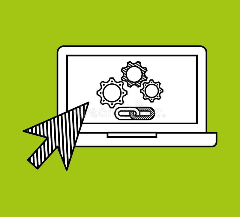 Massmedia för nätverk för rengöringsduk för sammanlänkning för kugghjul för handattraktionbärbar dator socialt royaltyfri illustrationer