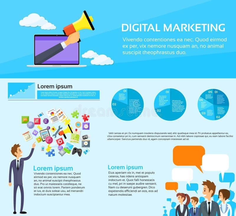 Massmedia för samkväm för grupp för Digital marknadsföringsfolk royaltyfri illustrationer