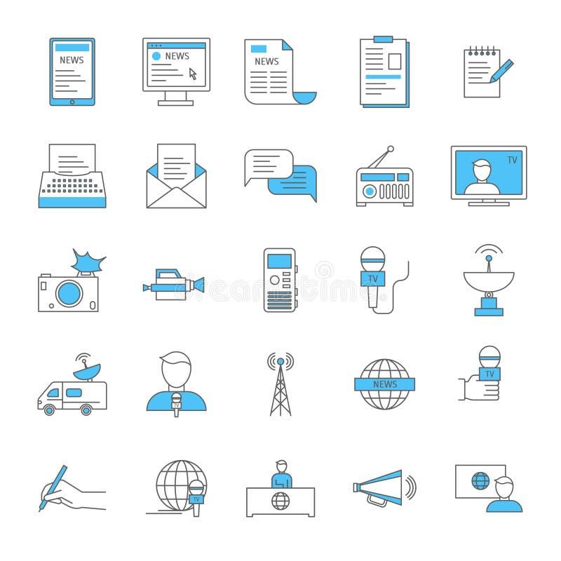Massmedia och tunn linje symbolsuppsättning för journalistik vektor royaltyfri illustrationer