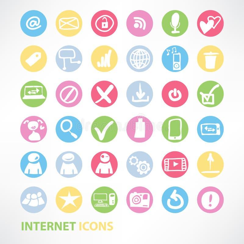 Massmedia och uppsättning för kommunikationsinternetsymboler vektor illustrationer