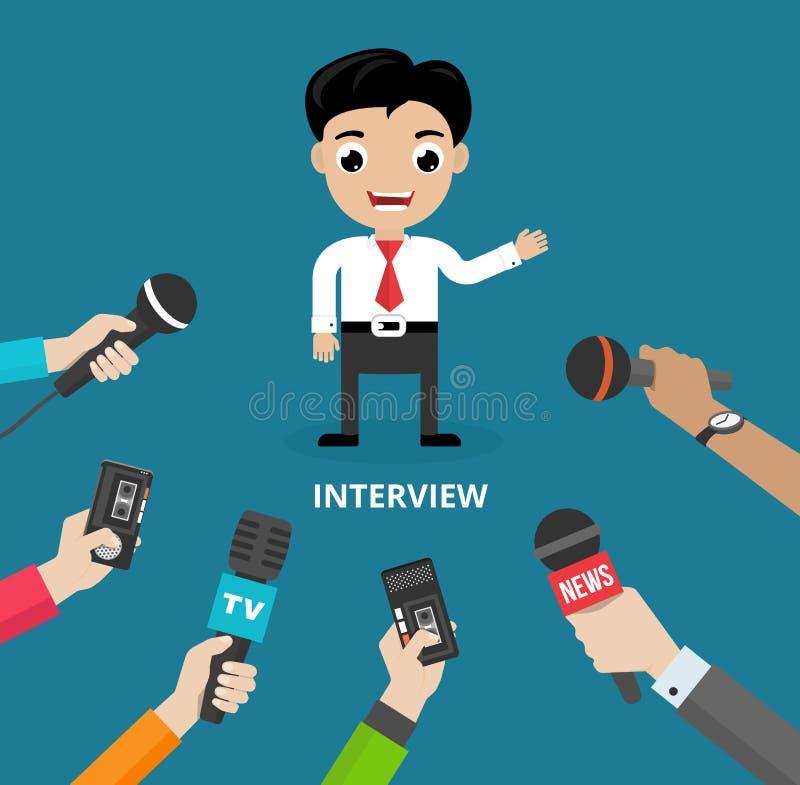 Massmedia som för en pressintervju royaltyfri illustrationer