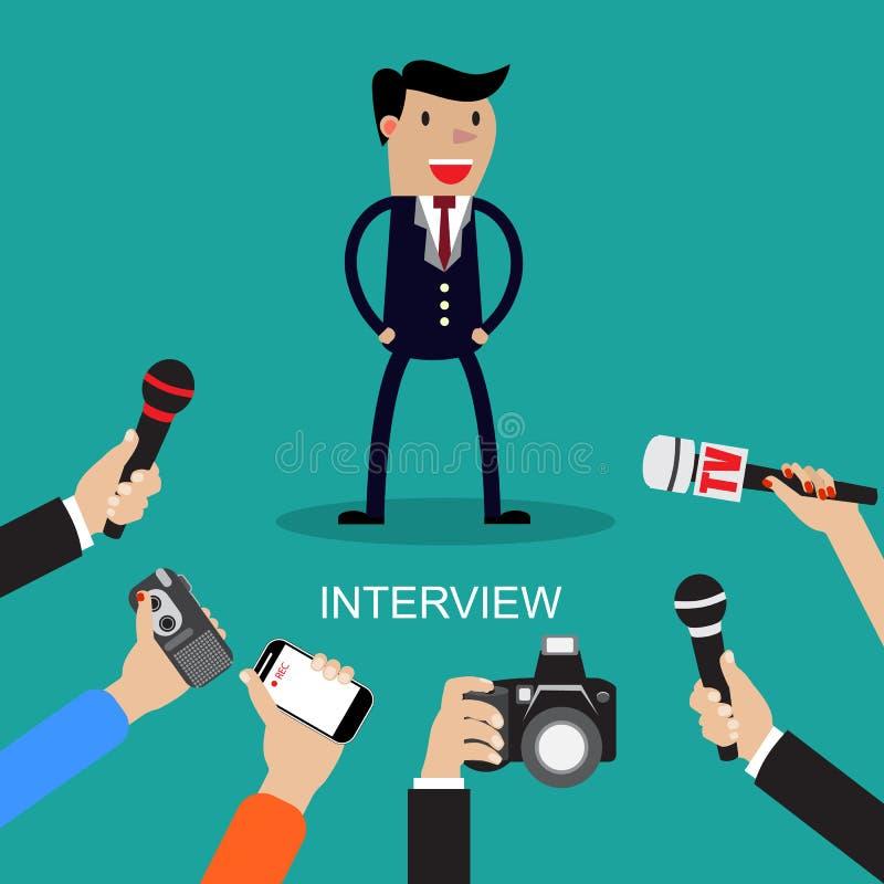 Massmedia som för en pressintervju med en affärsman royaltyfri illustrationer