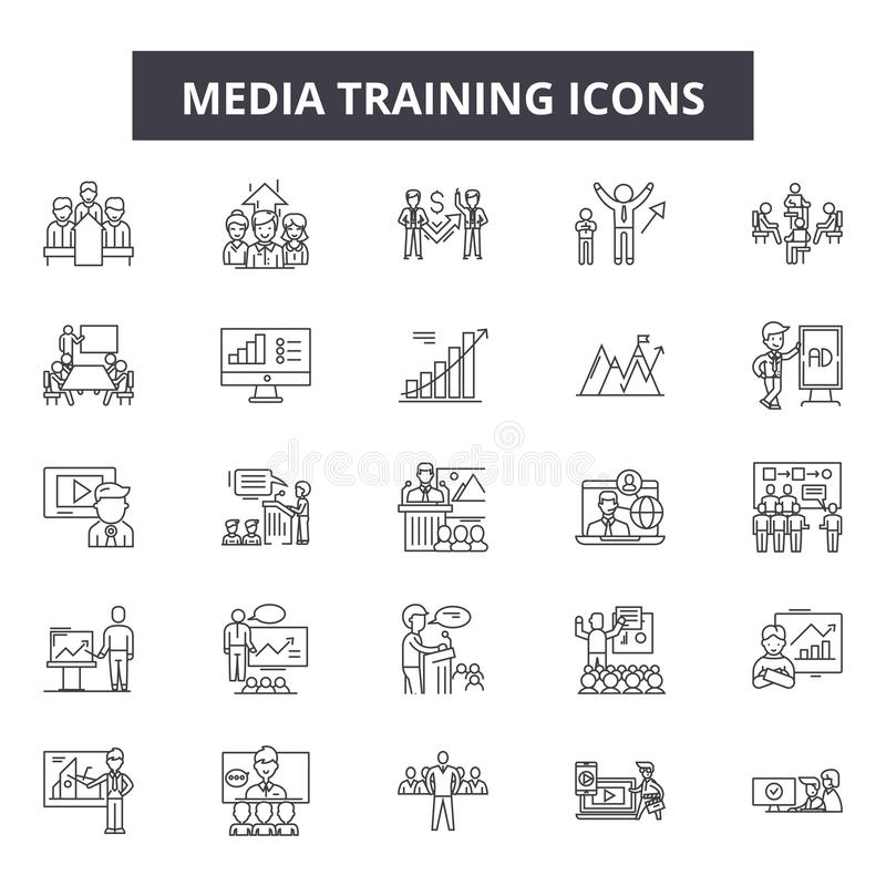 Massmedia som utbildar linjen symboler, tecken, vektoruppsättning, översiktsillustrationbegrepp vektor illustrationer