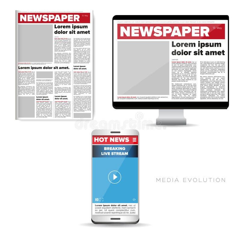 Massmediaevolution - tidning, rengöringsduk, mobil stock illustrationer