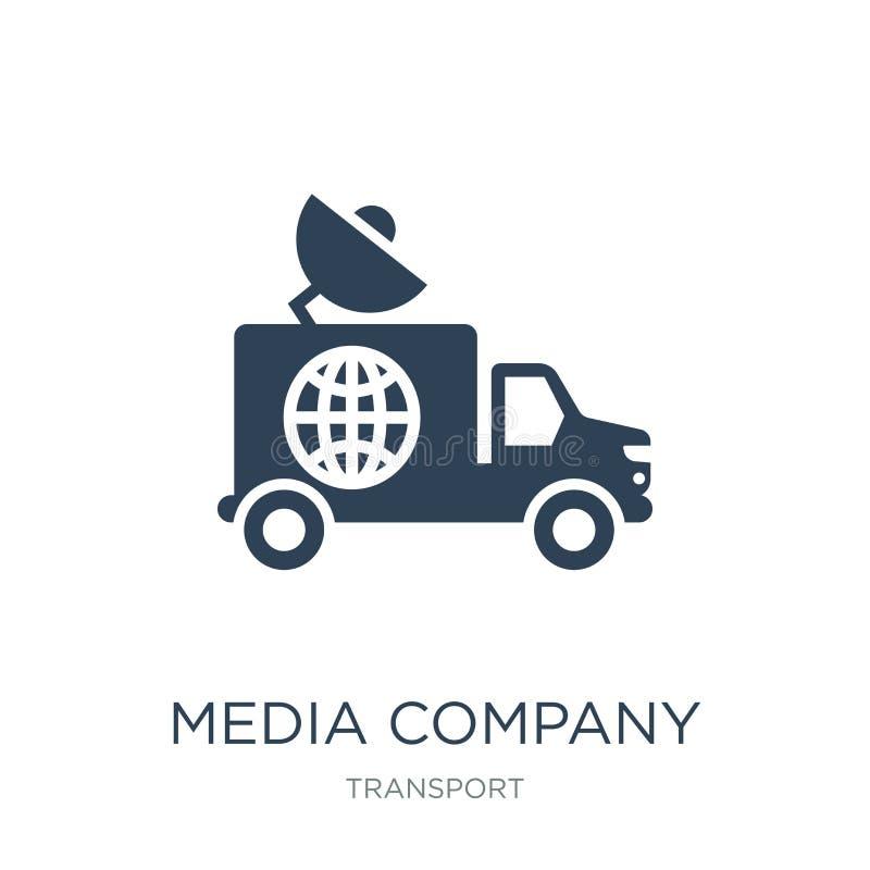 massmediaföretagslastbil med den satellit- symbolen i moderiktig designstil massmediaföretagslastbil med den satellit- symbolen s royaltyfri illustrationer