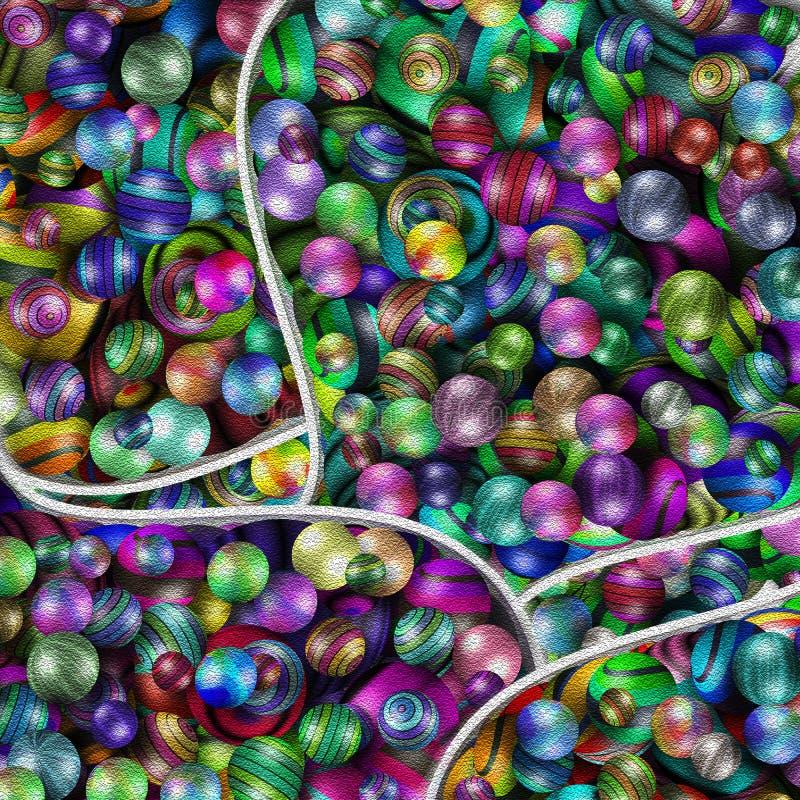Massor av färgade bollar vektor illustrationer