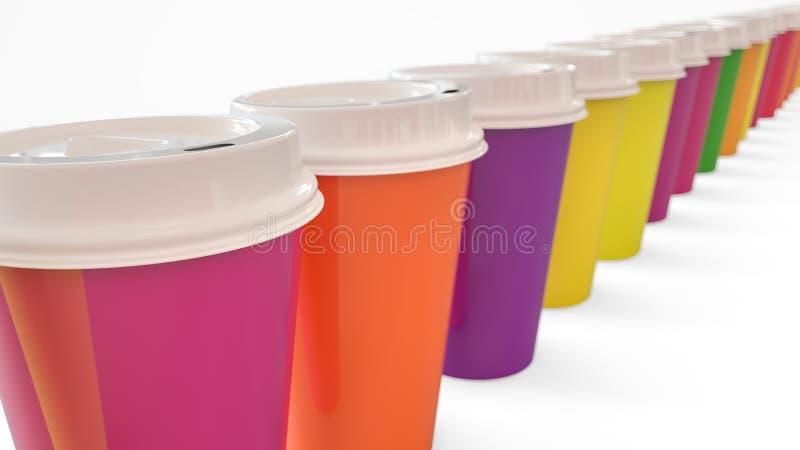 Massor av färgrikt kaffe som går, rånar - tolkningen 3D royaltyfri fotografi