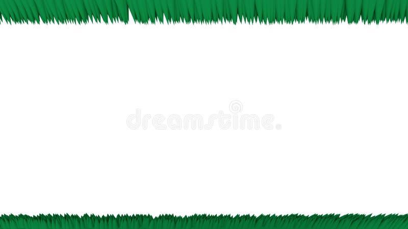 Massor av gröna små för raksträcka kottar skarpt upp och ner stock illustrationer