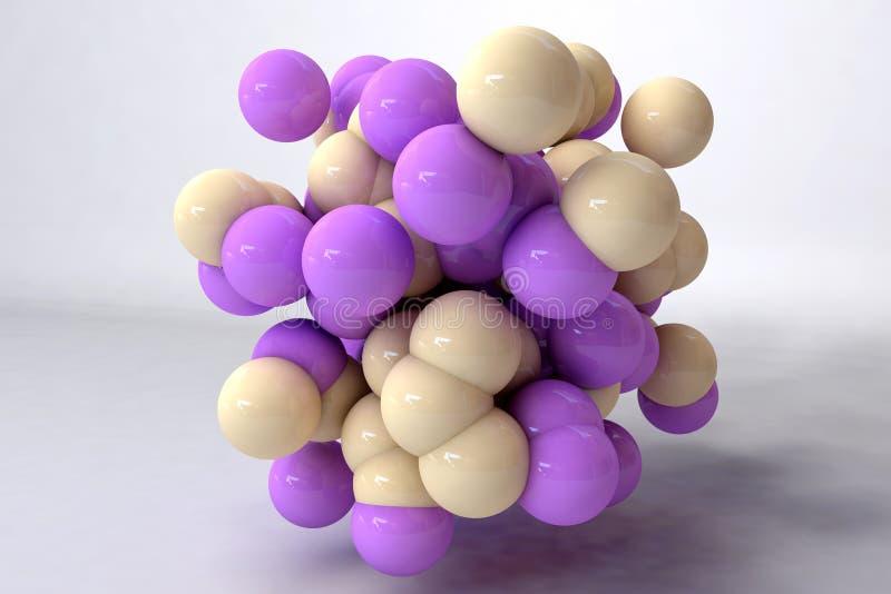 Massor av guling och purpurfärgade bollar påverkar varandra som molekylar vektor illustrationer