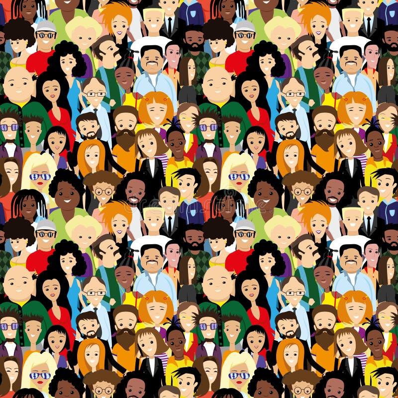 Massor av olika människor royaltyfri illustrationer
