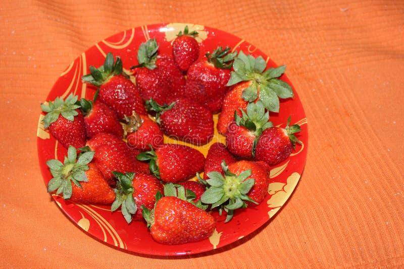 Massor av röda jordgubbar i en platta fotografering för bildbyråer