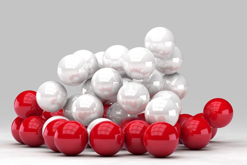 Massor av vita och röda bollar påverkar varandra vektor illustrationer