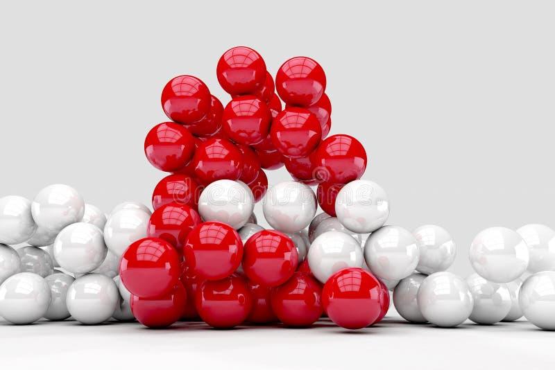 Massor av vita och röda bollar påverkar varandra stock illustrationer